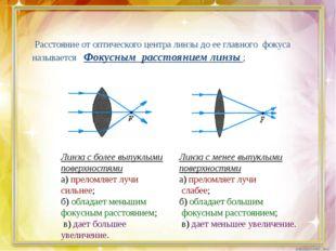 Расстояние от оптического центра линзы до ее главного фокуса называется Фоку