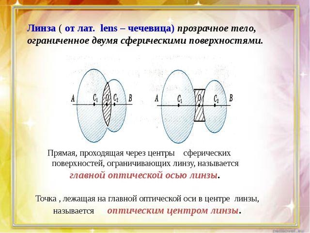 Линза ( от лат. lens – чечевица) прозрачное тело, ограниченное двумя сферичес...