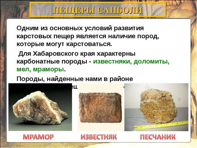 Одним из основных условий развития карстовых пещер является наличие пород, ко...