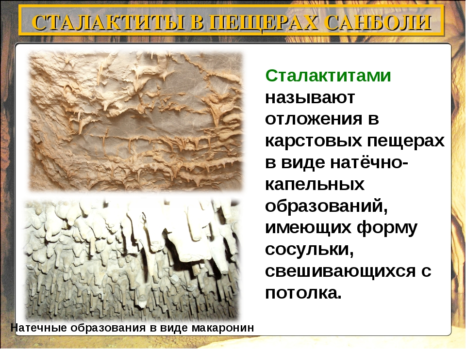 Сталактитами называют отложения в карстовых пещерах в виде натёчно-капельных...
