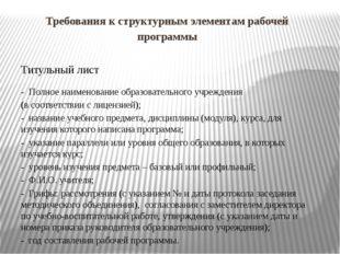 Требования к структурным элементам рабочей программы Титульный лист - Полное