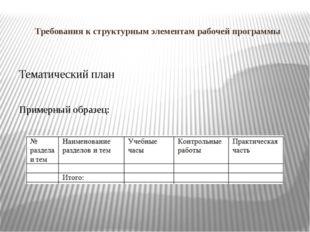Требования к структурным элементам рабочей программы Тематический план Пример