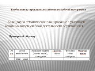 Требования к структурным элементам рабочей программы Календарно-тематическое