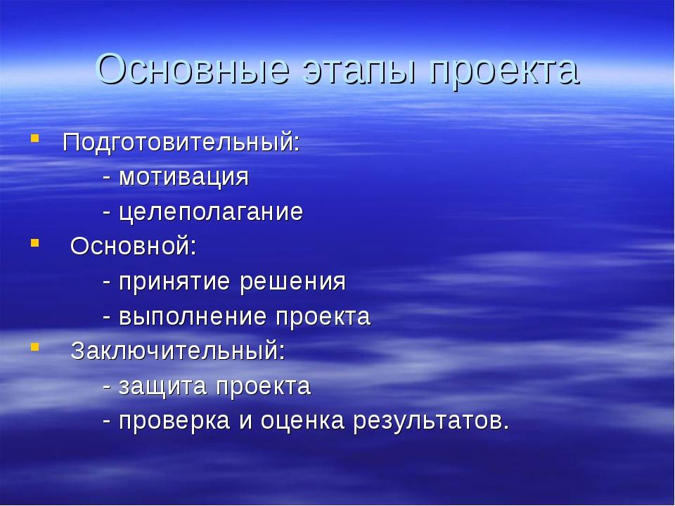 Основные этапы проекта Подготовительный: - мотивация - целеполагание Основной...