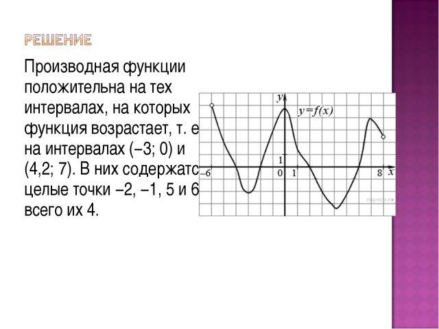 Производная функции положительна на тех интервалах, на которых функция возрас...