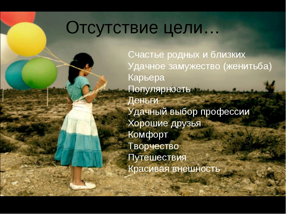 Отсутствие цели… Счастье родных и близких Удачное замужество (женитьба) Карье...