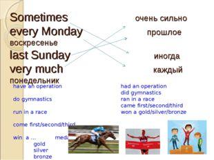 Sometimes очень сильно every Monday прошлое воскресенье last Sunday иногда v