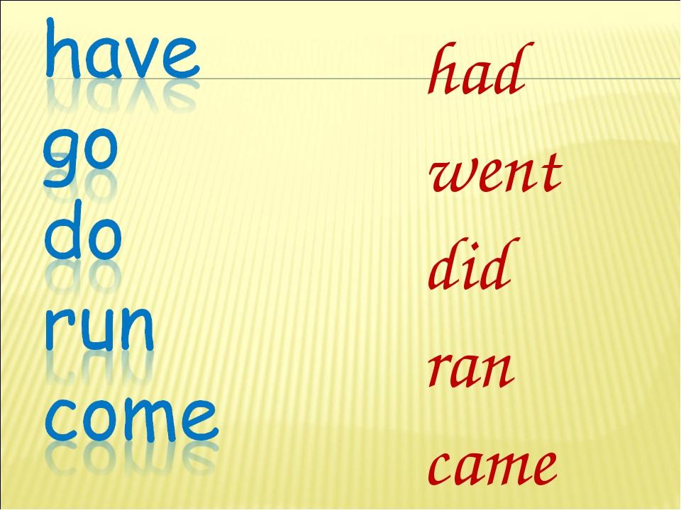 had went did ran came