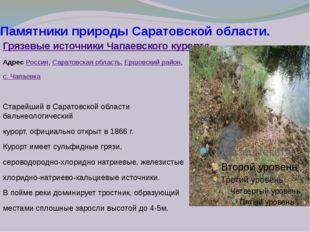 Памятники природы Саратовской области. Грязевые источники Чапаевского курорта