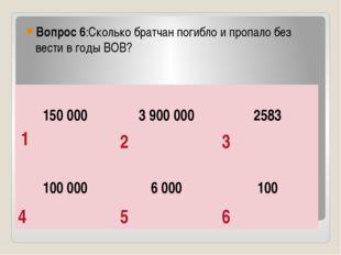Вопрос 6:Сколько братчан погибло и пропало без вести в годы ВОВ? 1 2 3 4 5 6