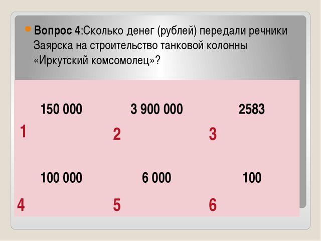 Вопрос 4:Сколько денег (рублей) передали речники Заярска на строительство та...