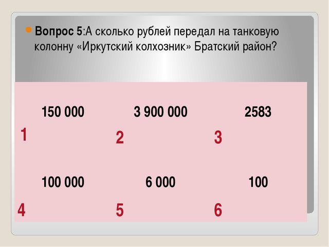 Вопрос 5:А сколько рублей передал на танковую колонну «Иркутский колхозник»...