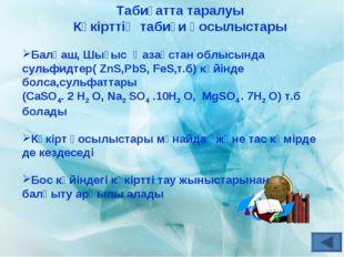 Табиғатта таралуы Күкірттің табиғи қосылыстары Балқаш, Шығыс Қазақстан облысы