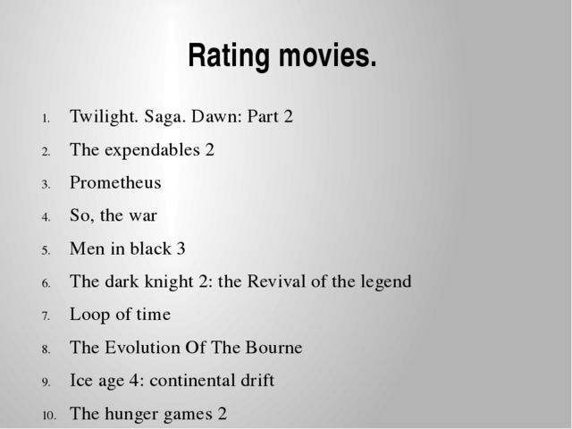 Rating movies. Twilight. Saga. Dawn: Part 2 The expendables 2 Prometheus So,...