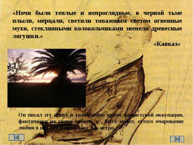 «Ночи были теплые и непроглядные, в черной тьме плыли, мерцали, светили топаз...
