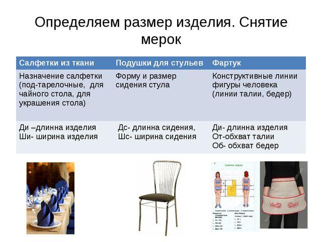 Определяем размер изделия. Снятие мерок Салфетки из тканиПодушки для стульев...