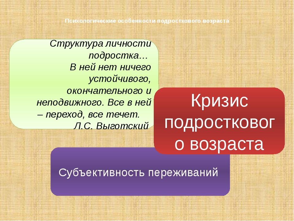 Психологические особенности подросткового возраста переживаний Структура личн...