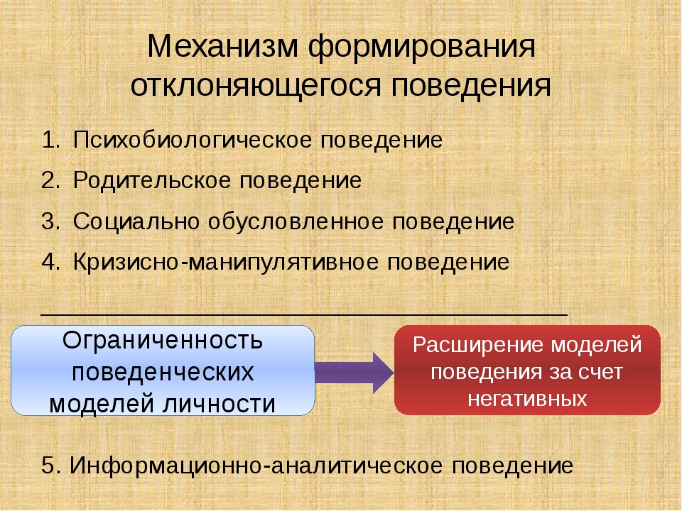 Механизм формирования отклоняющегося поведения Психобиологическое поведение Р...