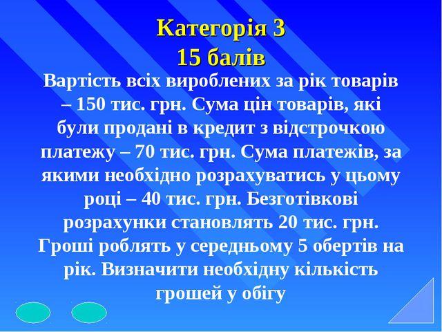 Категорія 3 15 балів Вартість всіх вироблених за рік товарів – 150 тис. грн....