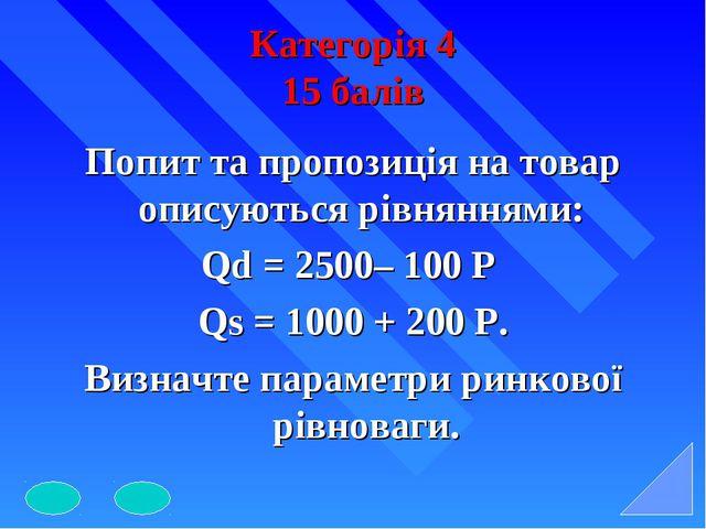 Категорія 4 15 балів Попит та пропозиція на товар описуються рівняннями: Qd =...