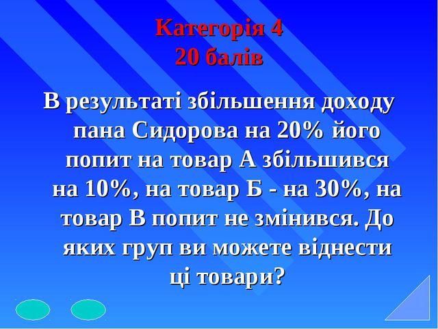 Категорія 4 20 балів В результаті збільшення доходу пана Сидорова на 20% його...