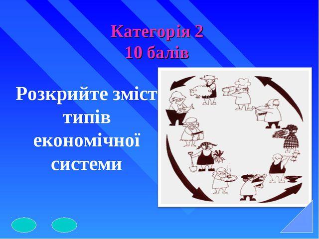 Категорія 2 10 балів Розкрийте зміст типів економічної системи
