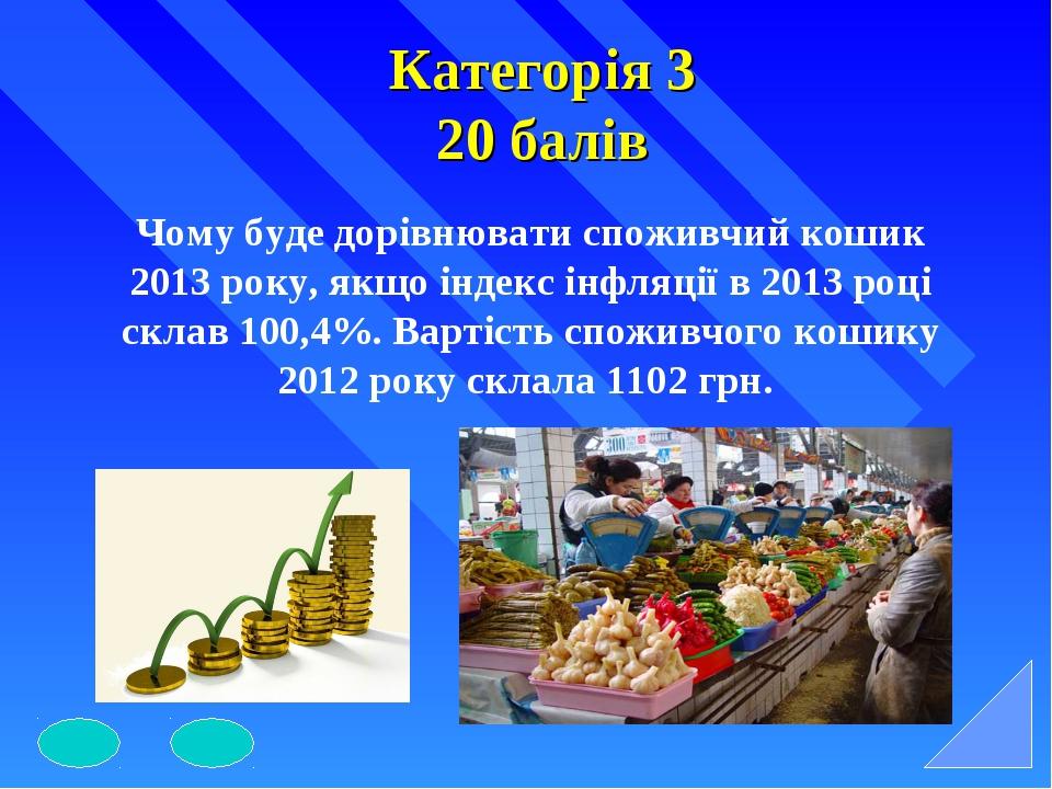 Категорія 3 20 балів Чому буде дорівнювати споживчий кошик 2013 року, якщо ін...