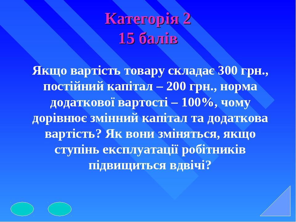 Категорія 2 15 балів Якщо вартість товару складає 300 грн., постійний капітал...