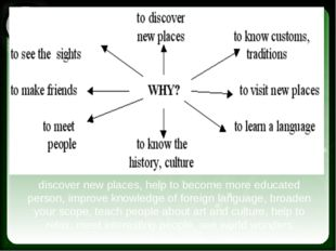 discover new places, help to become more educated person, improve knowledge o