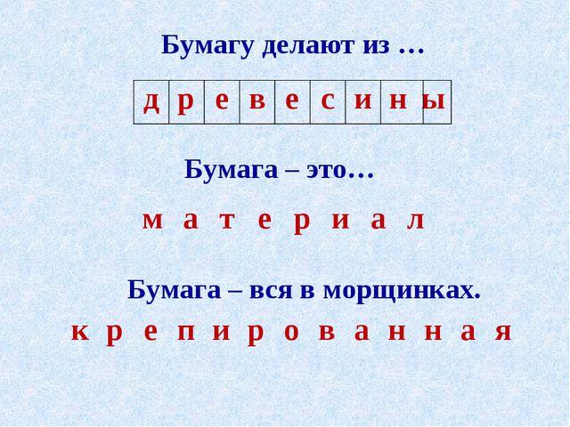 Бумагу делают из … Бумага – это… Бумага – вся в морщинках. древесины...