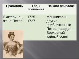 ПравительГоды правленияНа кого опирался Екатерина l, жена Петра l1725 - 17
