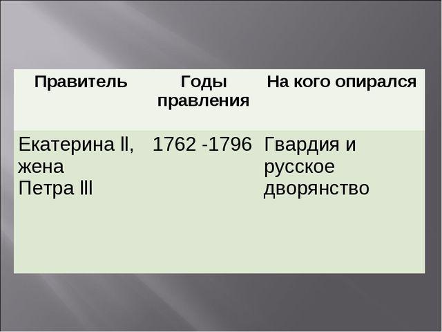 ПравительГоды правленияНа кого опирался Екатерина ll, жена Петра lll1762 -...