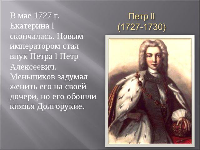 В мае 1727 г. Екатерина l скончалась. Новым императором стал внук Петра l Пет...