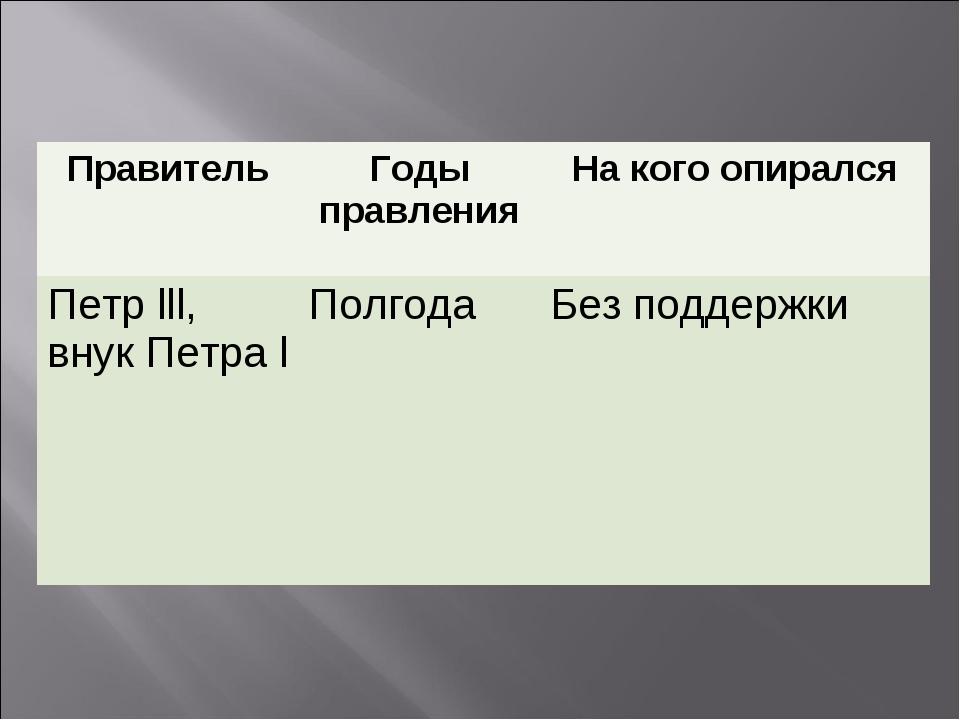 ПравительГоды правленияНа кого опирался Петр lll, внук Петра lПолгодаБез...