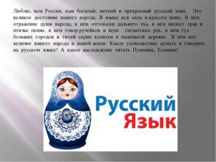 Люблю, моя Россия, наш богатый, меткий и прекрасный русский язык.