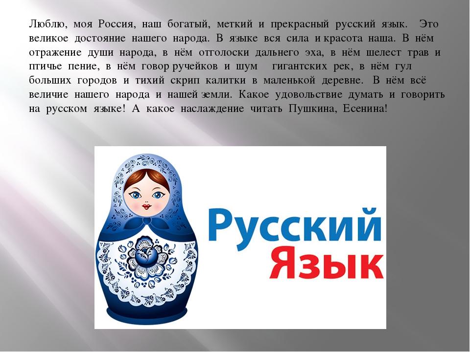 Люблю, моя Россия, наш богатый, меткий и прекрасный русский язык....