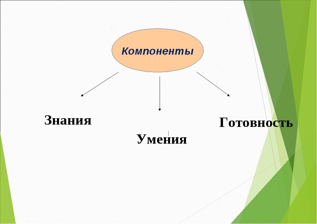 Компоненты Компоненты Знания Умения Готовность