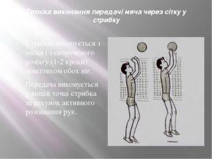 Техніка виконання передачі мяча через сітку у стрибку Стрибок виконується з м