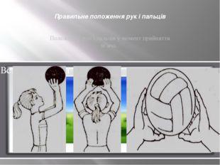 Правильне положення рук і пальців Положення рук і пальців у момент прийняття