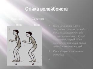 Стійка волейбоиста Высока Середня поза поза Ноги на ширині плеч і зігнуті в к