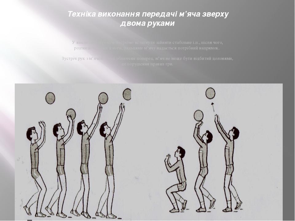 Техніка виконання передачі м'яча зверху двома руками У виконанні передачі пот...