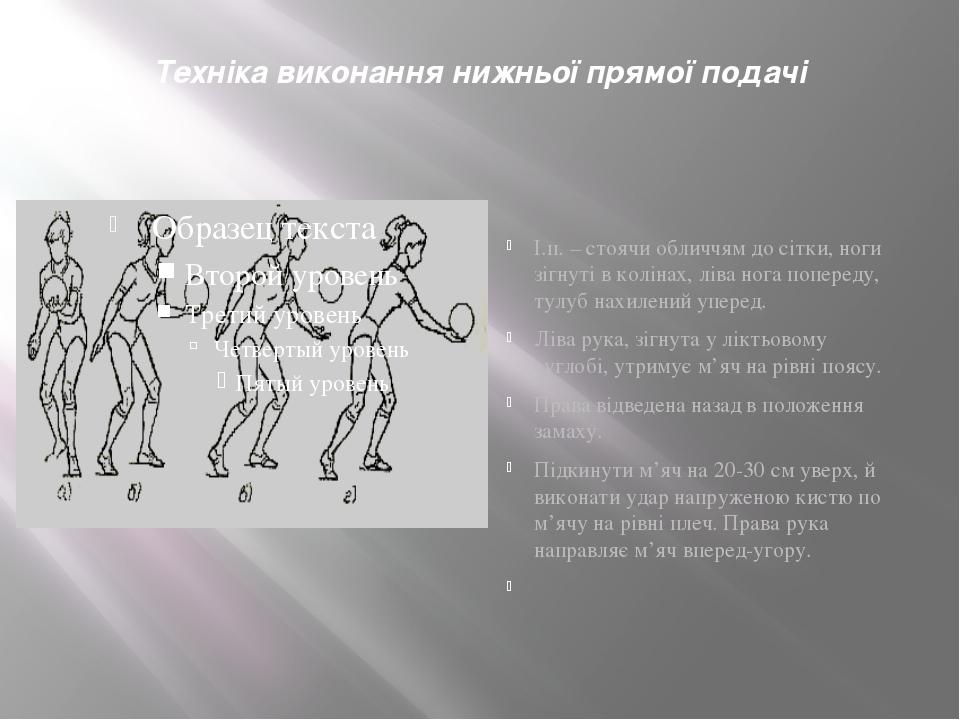 Техніка виконання нижньої прямої подачі І.п. – стоячи обличчям до сітки, ноги...