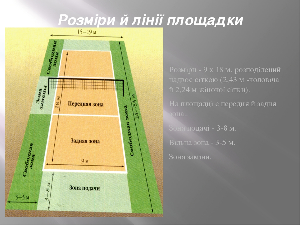 Розміри й лінії площадки Розміри - 9 х 18 м, розподілений надвоє сіткою (2,43...