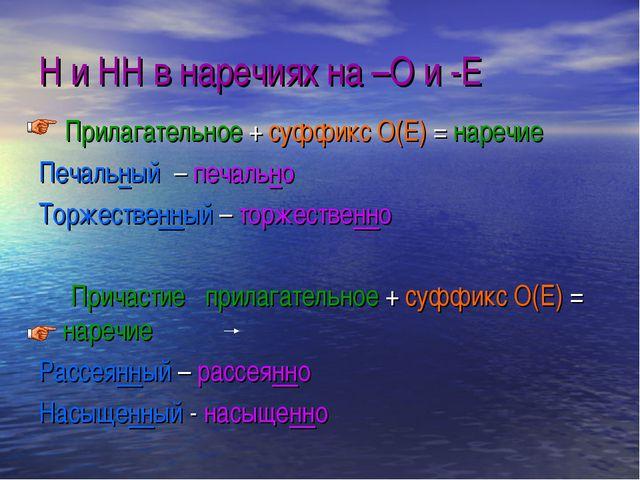 Н и НН в наречиях на –О и -Е Прилагательное + суффикс О(Е) = наречие Печальны...