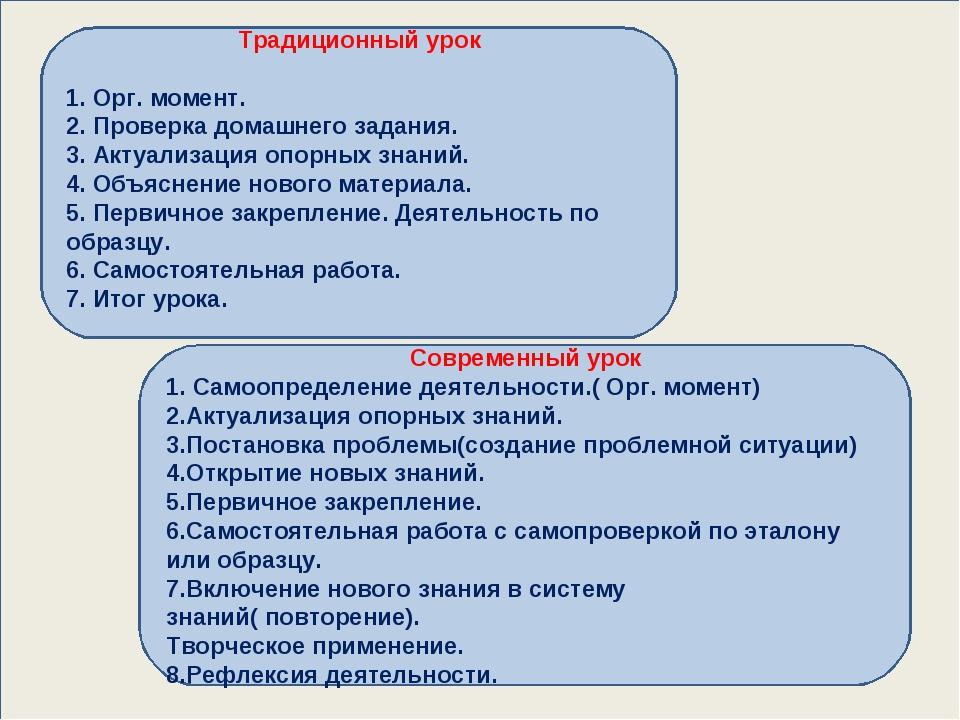 Современный урок 1. Самоопределение деятельности.( Орг. момент) 2.Актуализац...