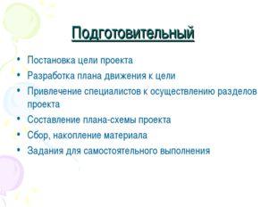 Подготовительный Постановка цели проекта Разработка плана движения к цели При