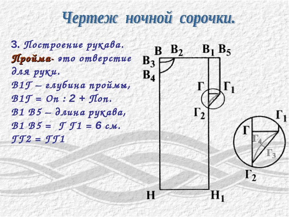 3. Построение рукава. Пройма- это отверстие для руки. В1Г – глубина проймы, В...