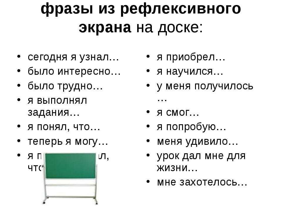 фразы из рефлексивного экрана на доске: сегодня я узнал… было интересно… было...