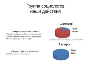 Группа социологов наши действия В опросе участвовала 103 человека 1 вопрос: «