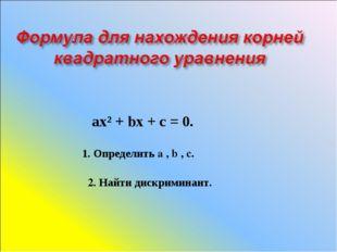 ах² + bх + с = 0. 1. Определить a , b , c. 2. Найти дискриминант.